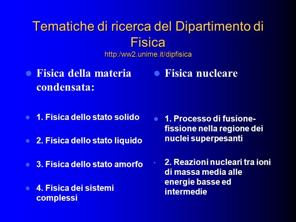 Tematiche di ricerca del Dipartimento di Fisica http:/ww2. unime