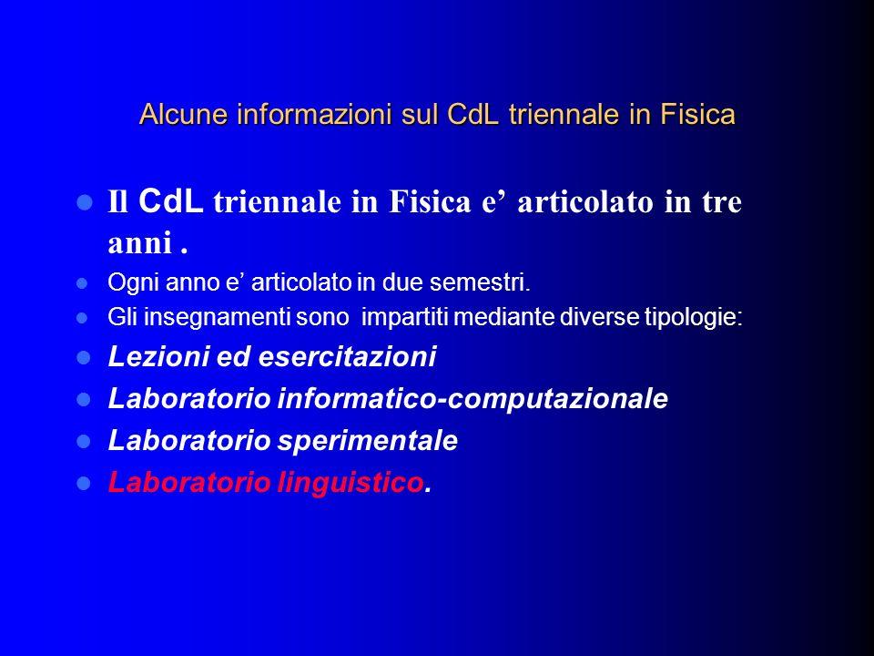 Alcune informazioni sul CdL triennale in Fisica