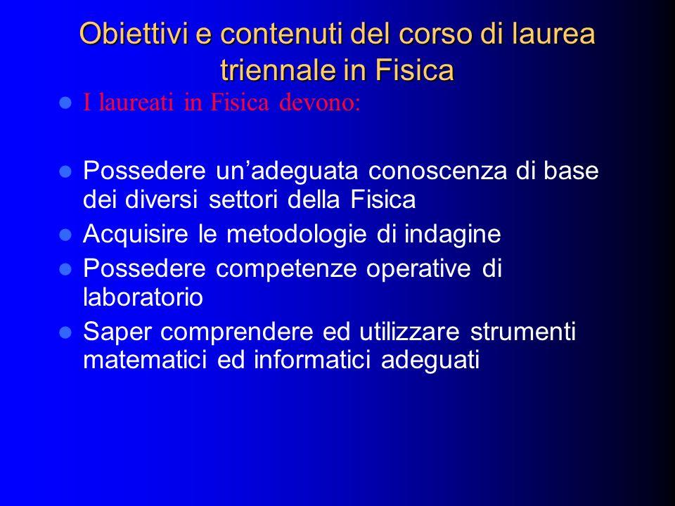Obiettivi e contenuti del corso di laurea triennale in Fisica