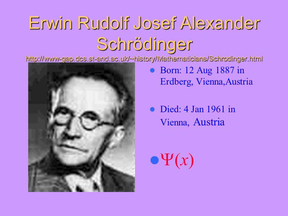 Erwin Rudolf Josef Alexander Schrödinger http://www-gap. dcs. st-and
