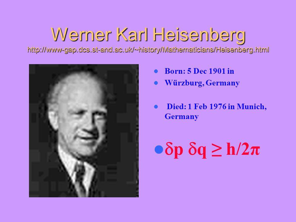 Werner Karl Heisenberg http://www-gap. dcs. st-and. ac