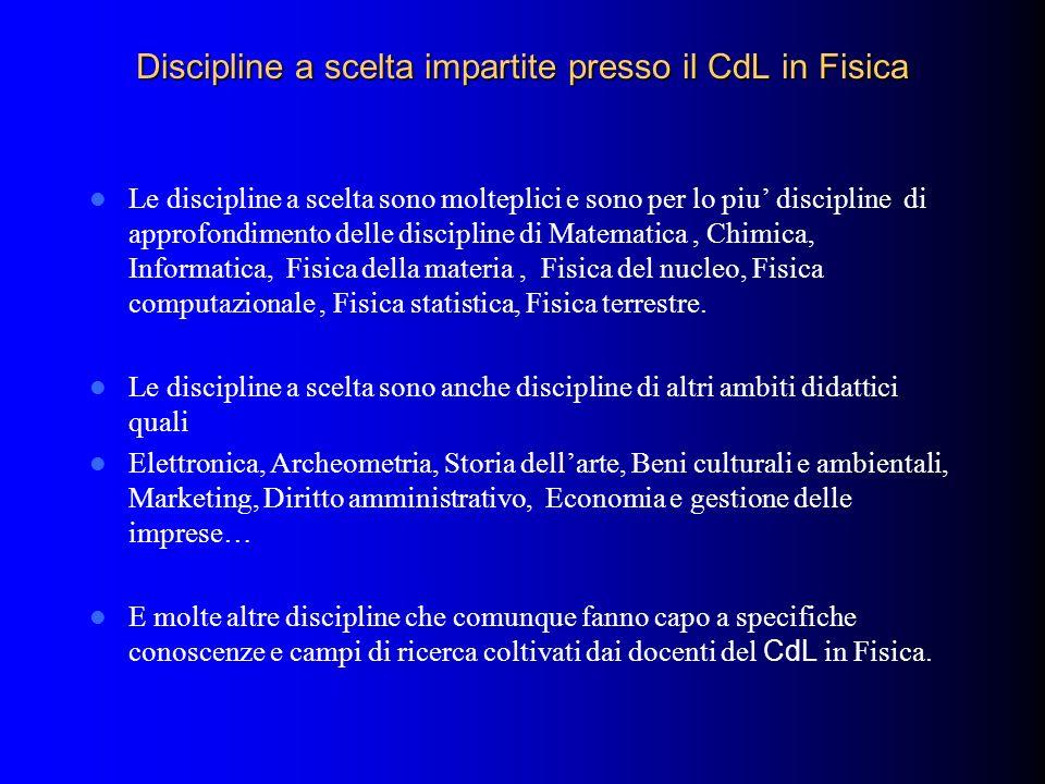 Discipline a scelta impartite presso il CdL in Fisica