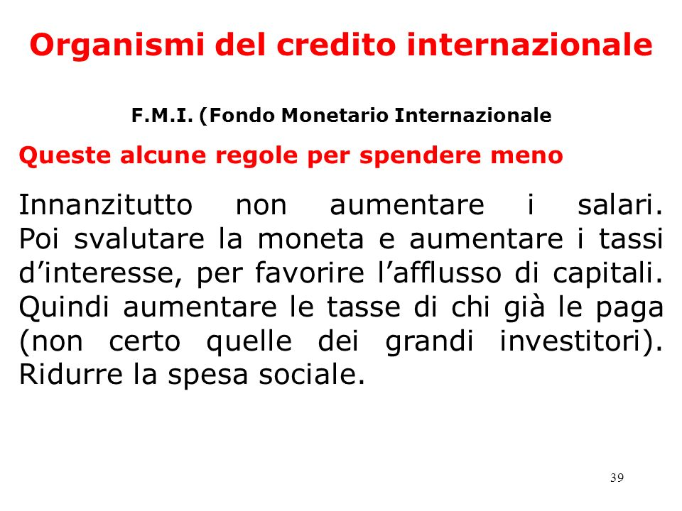 Organismi del credito internazionale