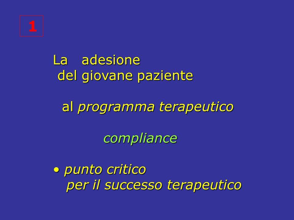 1 La adesione del giovane paziente al programma terapeutico compliance