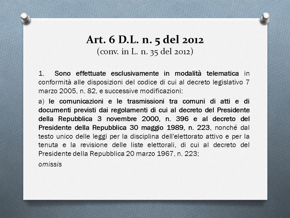 Art. 6 D.L. n. 5 del 2012 (conv. in L. n. 35 del 2012)