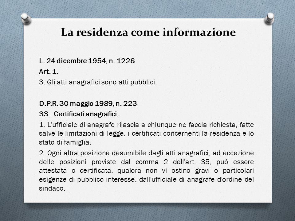 La residenza come informazione