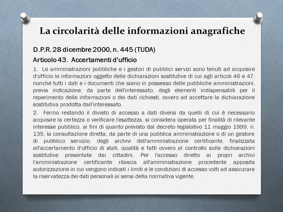 La circolarità delle informazioni anagrafiche