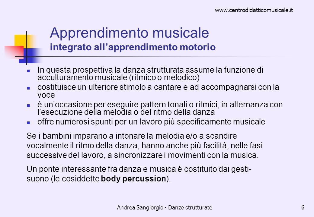 Apprendimento musicale integrato all'apprendimento motorio