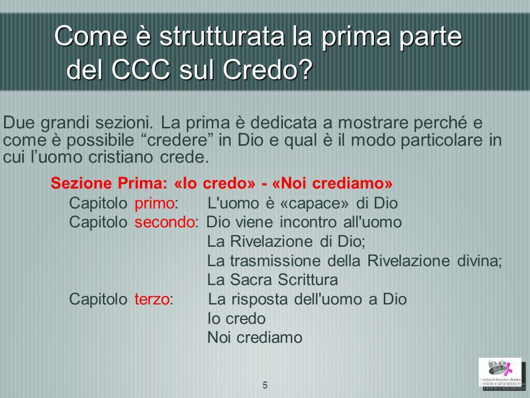 Come è strutturata la prima parte del CCC sul Credo