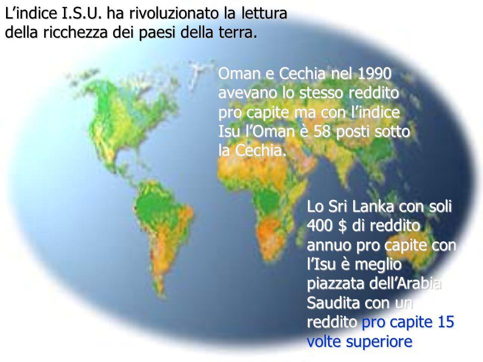 L'indice I.S.U. ha rivoluzionato la lettura della ricchezza dei paesi della terra.