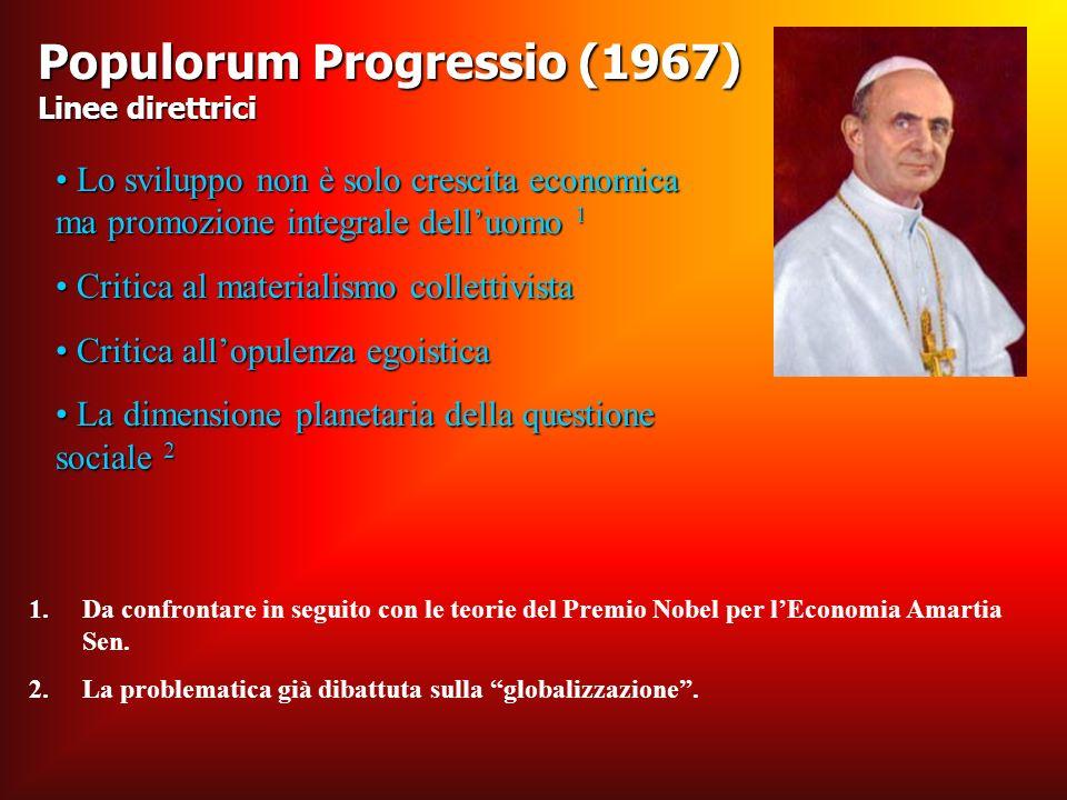 Populorum Progressio (1967) Linee direttrici