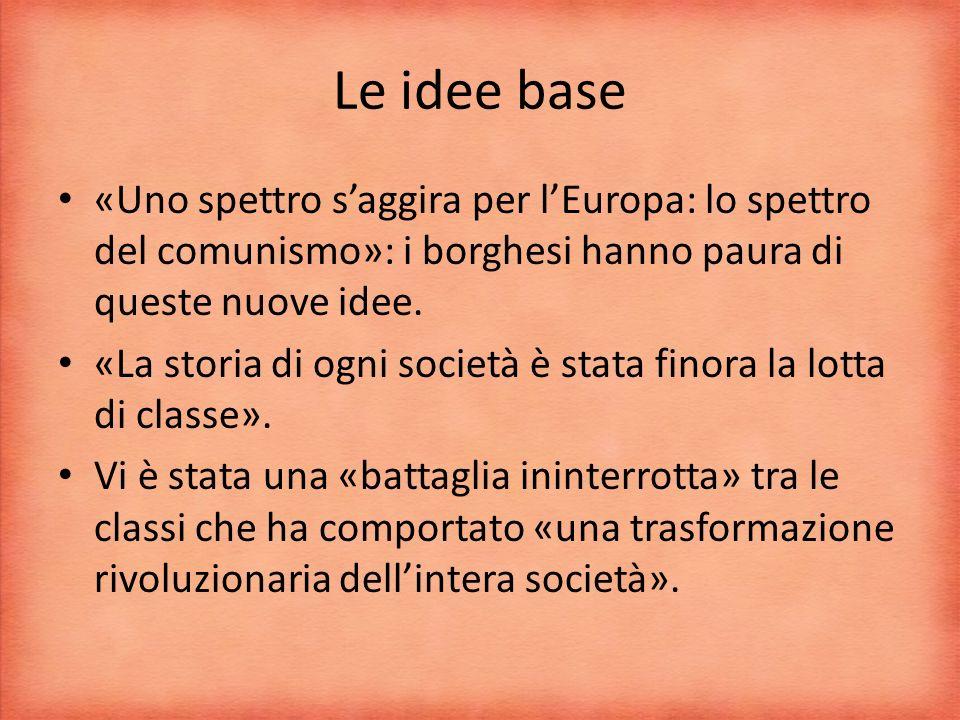 Le idee base «Uno spettro s'aggira per l'Europa: lo spettro del comunismo»: i borghesi hanno paura di queste nuove idee.