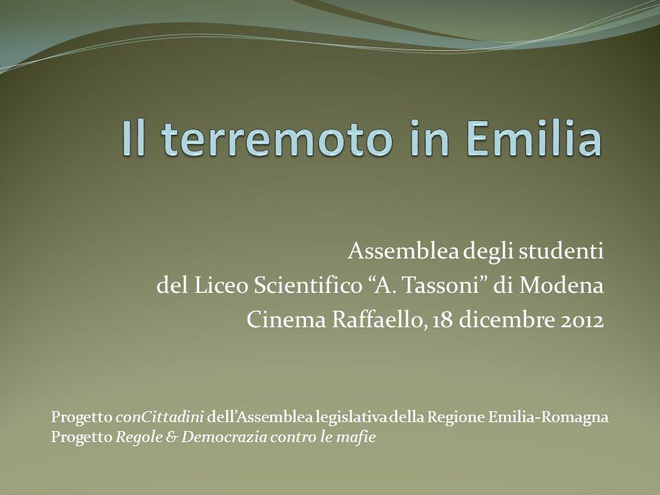 Il terremoto in Emilia Assemblea degli studenti
