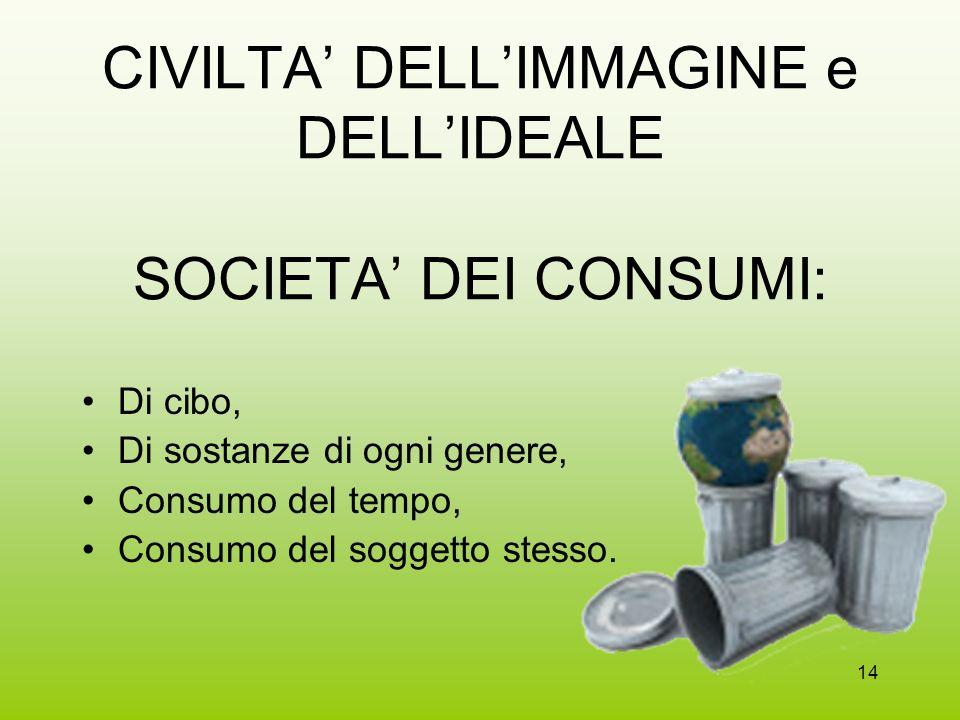 CIVILTA' DELL'IMMAGINE e DELL'IDEALE SOCIETA' DEI CONSUMI: