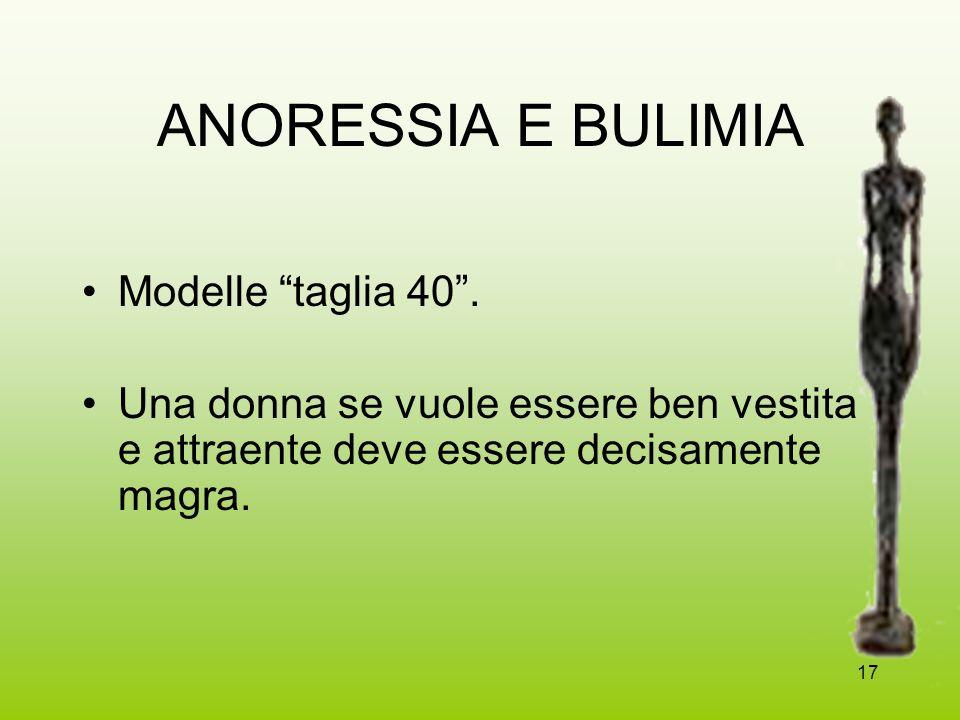 ANORESSIA E BULIMIA Modelle taglia 40 .