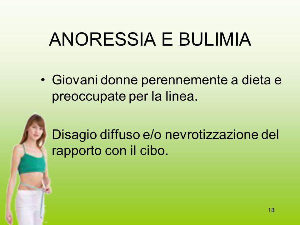 ANORESSIA E BULIMIA Giovani donne perennemente a dieta e preoccupate per la linea.