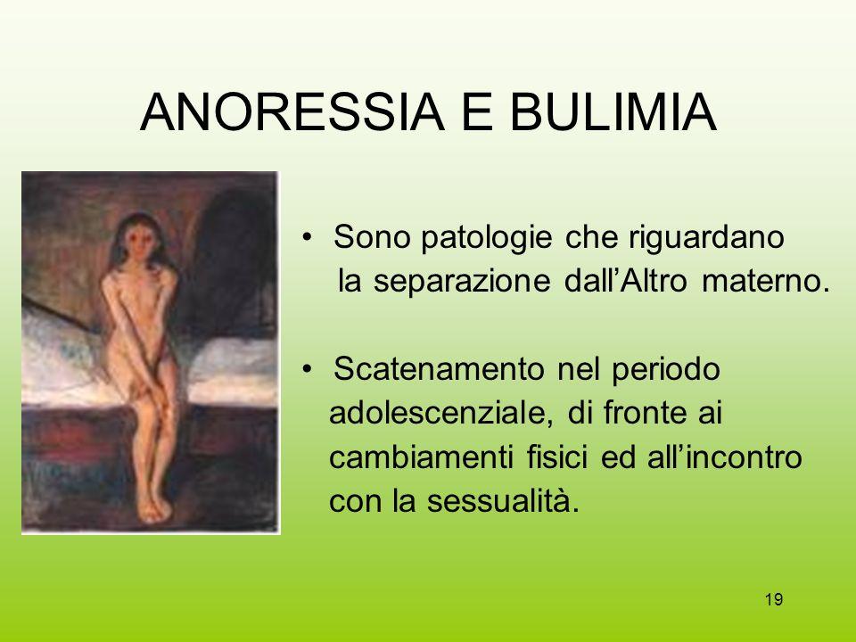 ANORESSIA E BULIMIA Sono patologie che riguardano