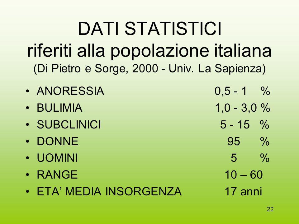 DATI STATISTICI riferiti alla popolazione italiana (Di Pietro e Sorge, 2000 - Univ. La Sapienza)