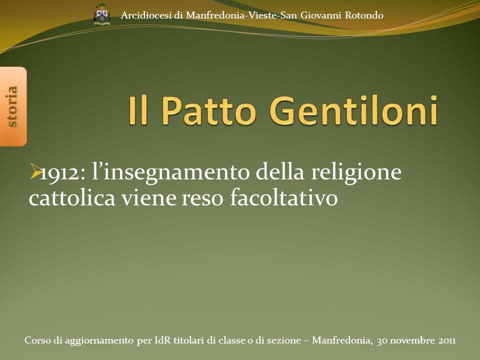 1912: l'insegnamento della religione cattolica viene reso facoltativo