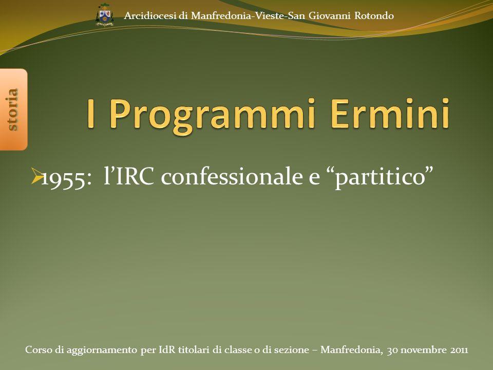 1955: l'IRC confessionale e partitico