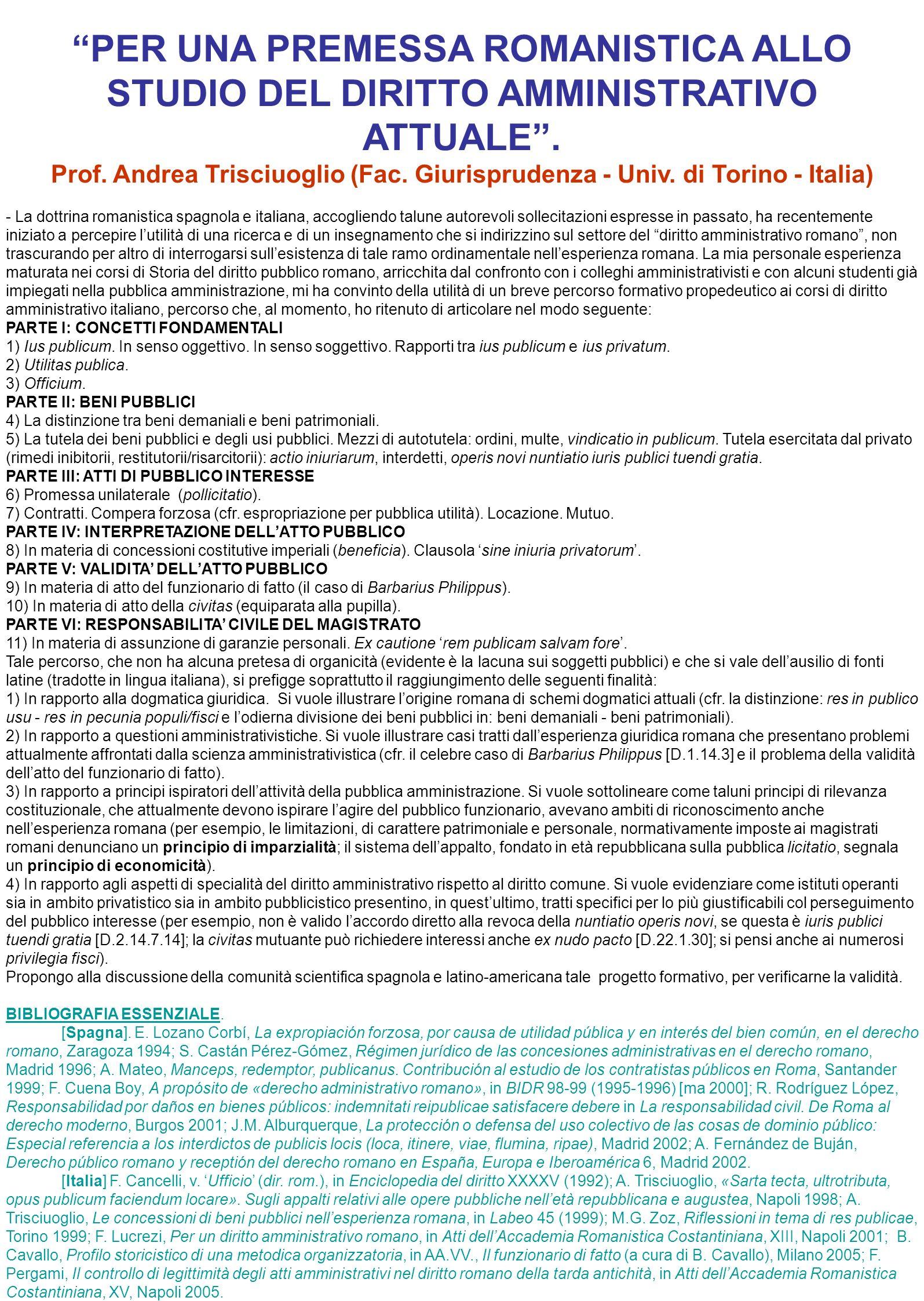 PER UNA PREMESSA ROMANISTICA ALLO STUDIO DEL DIRITTO AMMINISTRATIVO ATTUALE .