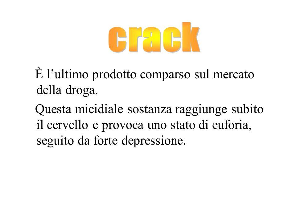 crack È l'ultimo prodotto comparso sul mercato della droga.