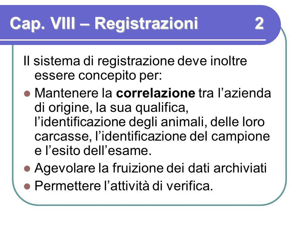 Cap. VIII – Registrazioni 2