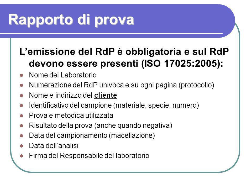 Rapporto di prova L'emissione del RdP è obbligatoria e sul RdP devono essere presenti (ISO 17025:2005):