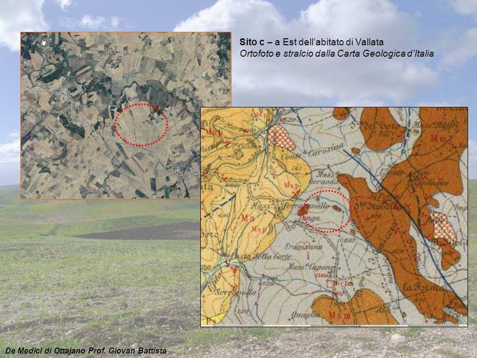 Sito c – a Est dell'abitato di Vallata Ortofoto e stralcio dalla Carta Geologica d'Italia