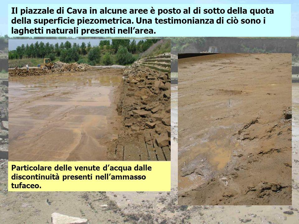 Il piazzale di Cava in alcune aree è posto al di sotto della quota della superficie piezometrica. Una testimonianza di ciò sono i laghetti naturali presenti nell'area.