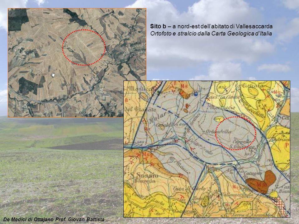 Sito b – a nord-est dell'abitato di Vallesaccarda Ortofoto e stralcio dalla Carta Geologica d'Italia