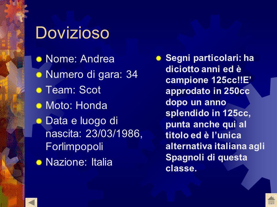 Dovizioso Nome: Andrea Numero di gara: 34 Team: Scot Moto: Honda
