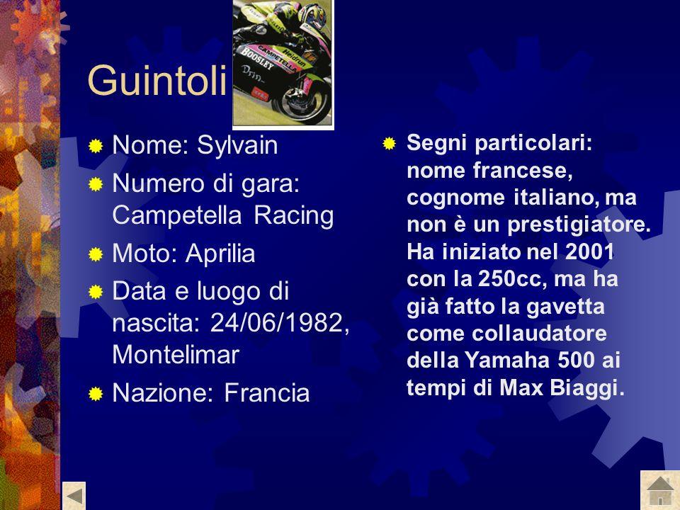 Guintoli Nome: Sylvain Numero di gara: Campetella Racing Moto: Aprilia