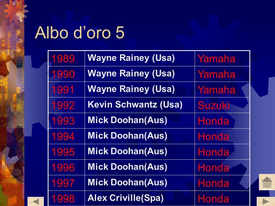 Albo d'oro 5 1989 Yamaha 1990 1991 1992 Suzuki 1993 Honda 1994 1995