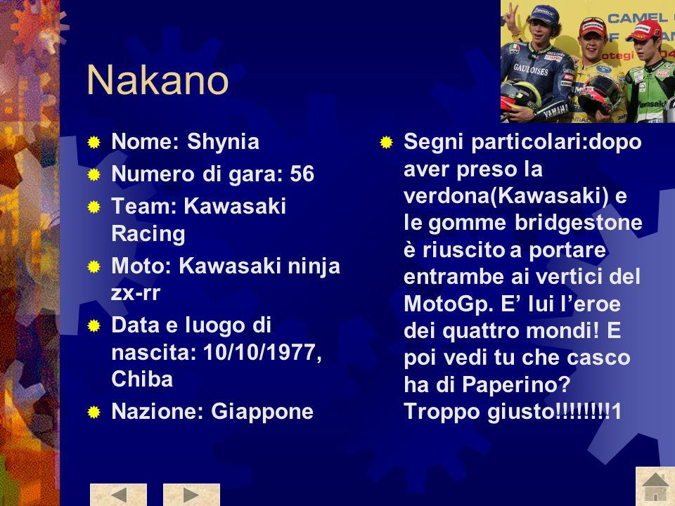 Nakano Nome: Shynia Numero di gara: 56 Team: Kawasaki Racing