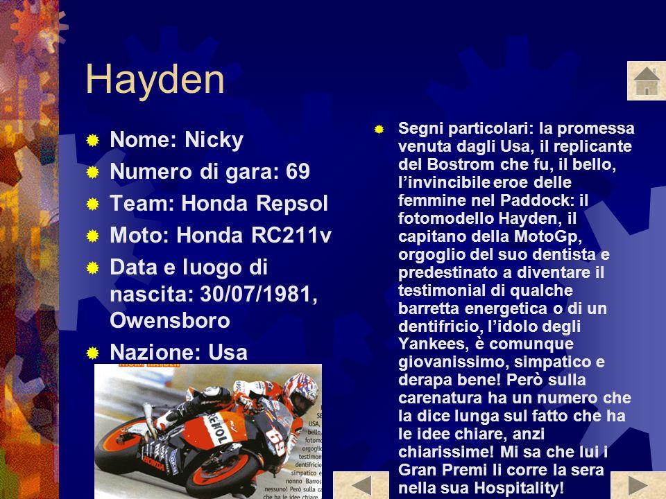 Hayden Nome: Nicky Numero di gara: 69 Team: Honda Repsol