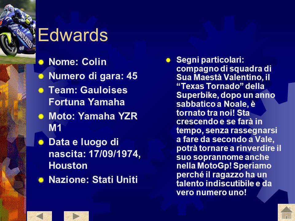 Edwards Nome: Colin Numero di gara: 45 Team: Gauloises Fortuna Yamaha