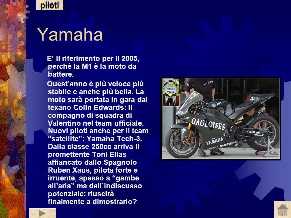 piloti Yamaha. E' il riferimento per il 2005, perché la M1 è la moto da battere.