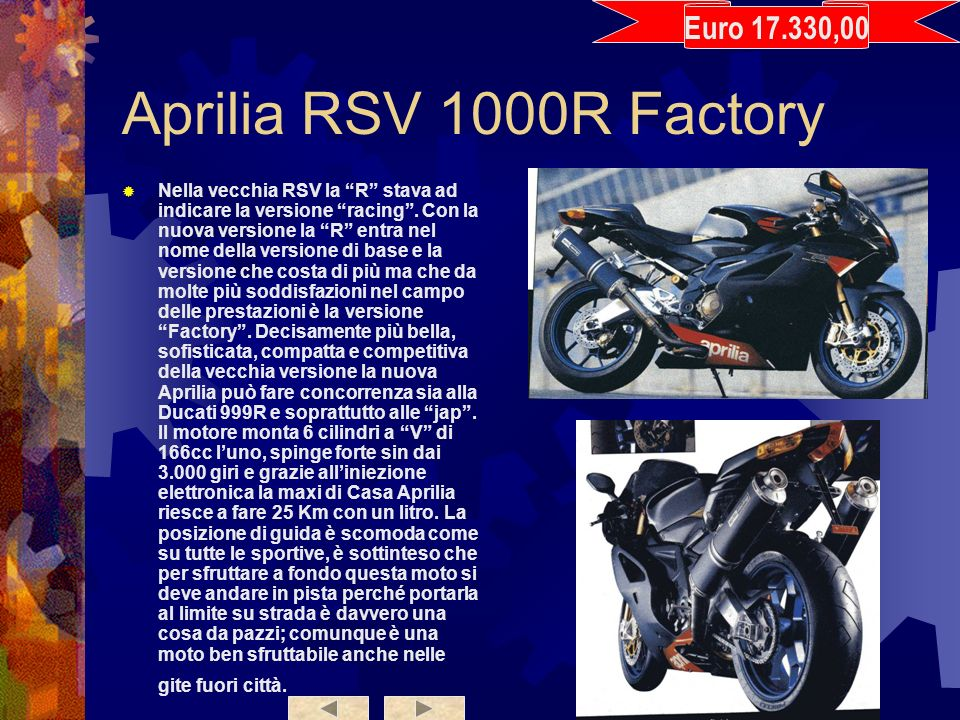 Aprilia RSV 1000R Factory Euro 17.330,00