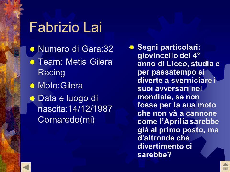 Fabrizio Lai Numero di Gara:32 Team: Metis Gilera Racing Moto:Gilera