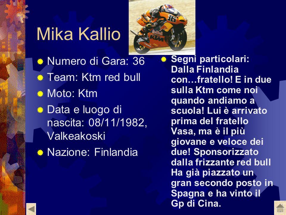 Mika Kallio Numero di Gara: 36 Team: Ktm red bull Moto: Ktm