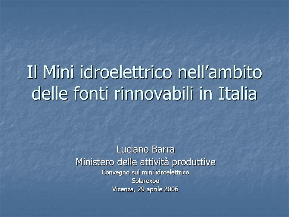 Il Mini idroelettrico nell'ambito delle fonti rinnovabili in Italia