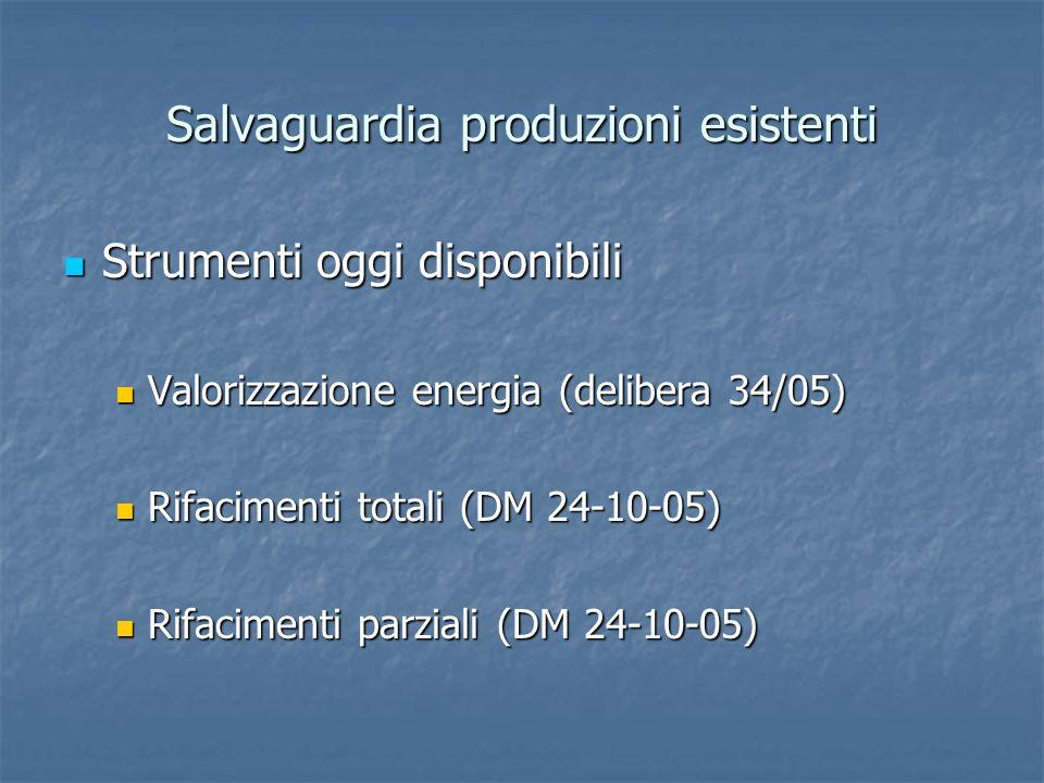 Salvaguardia produzioni esistenti