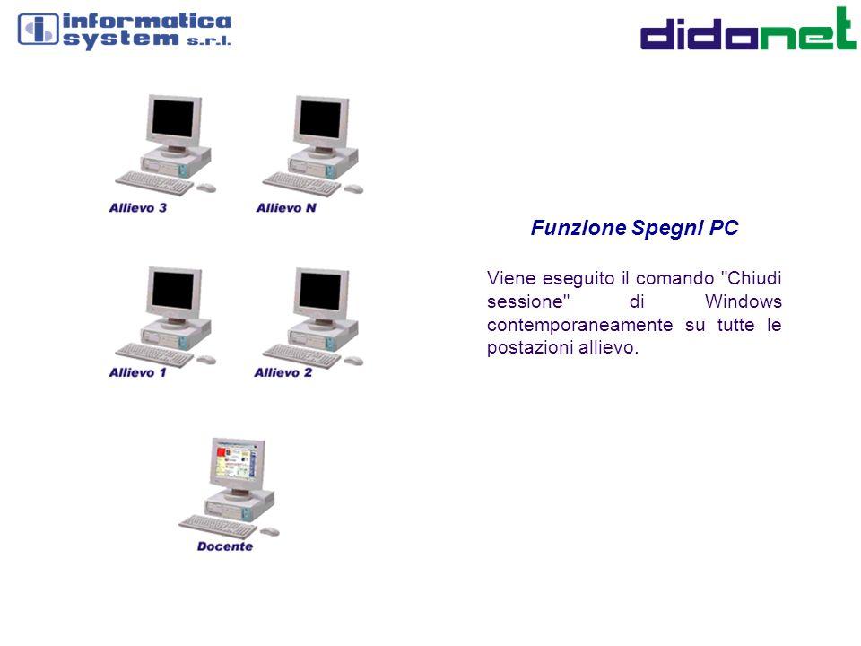 Funzione Spegni PC Viene eseguito il comando Chiudi sessione di Windows contemporaneamente su tutte le postazioni allievo.
