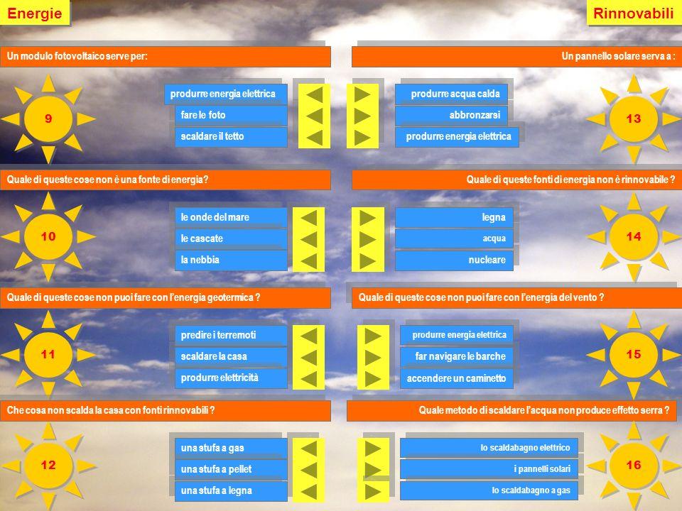 Energie Rinnovabili. Un modulo fotovoltaico serve per: Un pannello solare serva a : 9. 13. produrre energia elettrica.