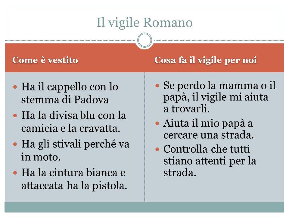 Il vigile Romano Ha il cappello con lo stemma di Padova