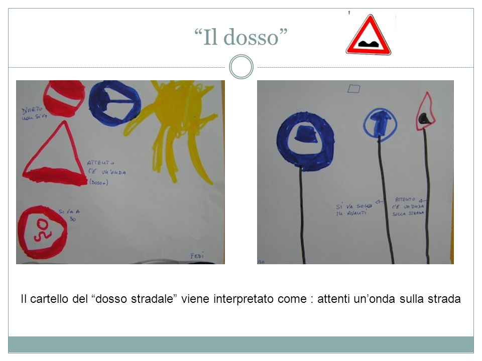 Il dosso Il cartello del dosso stradale viene interpretato come : attenti un'onda sulla strada