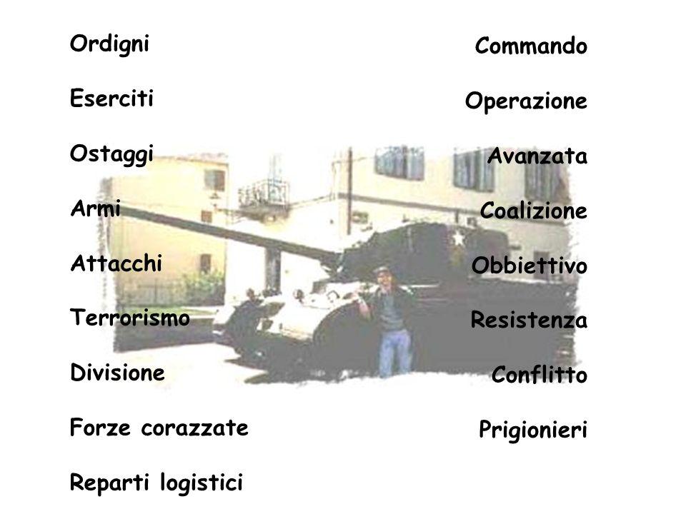 Ordigni Eserciti. Ostaggi. Armi. Attacchi. Terrorismo. Divisione. Forze corazzate. Reparti logistici.