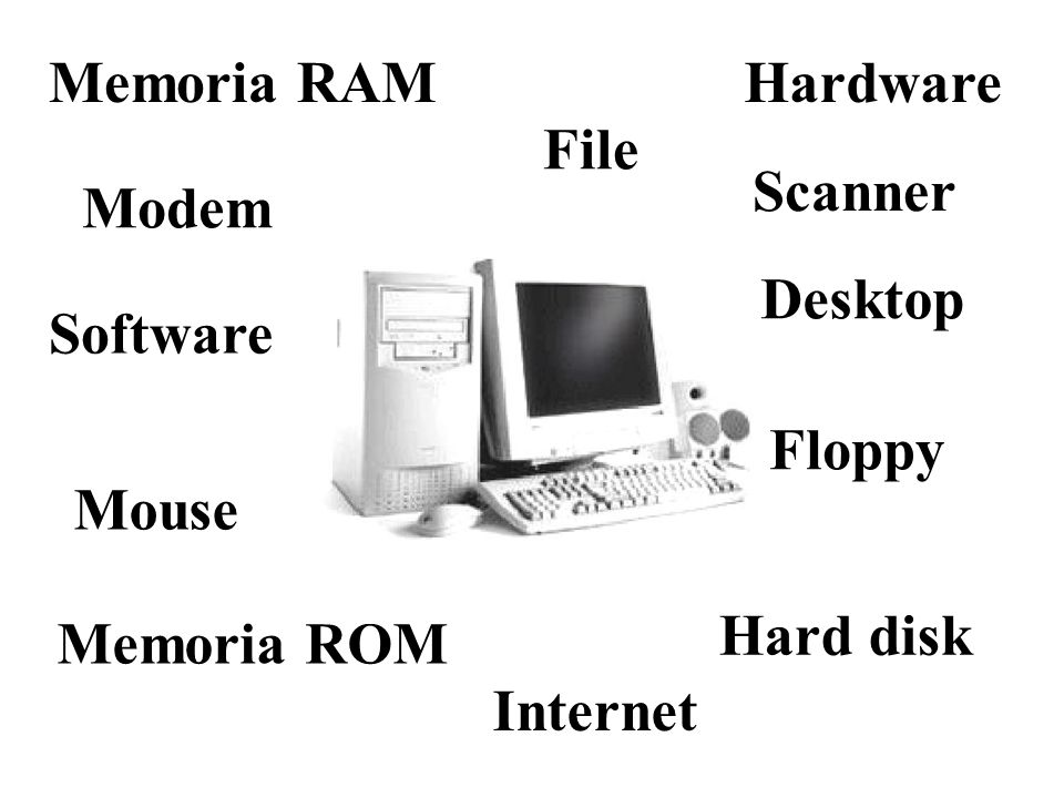Memoria RAMHardware. File. Scanner. Modem. Desktop. Software. Floppy. Mouse. Hard disk. Memoria ROM.