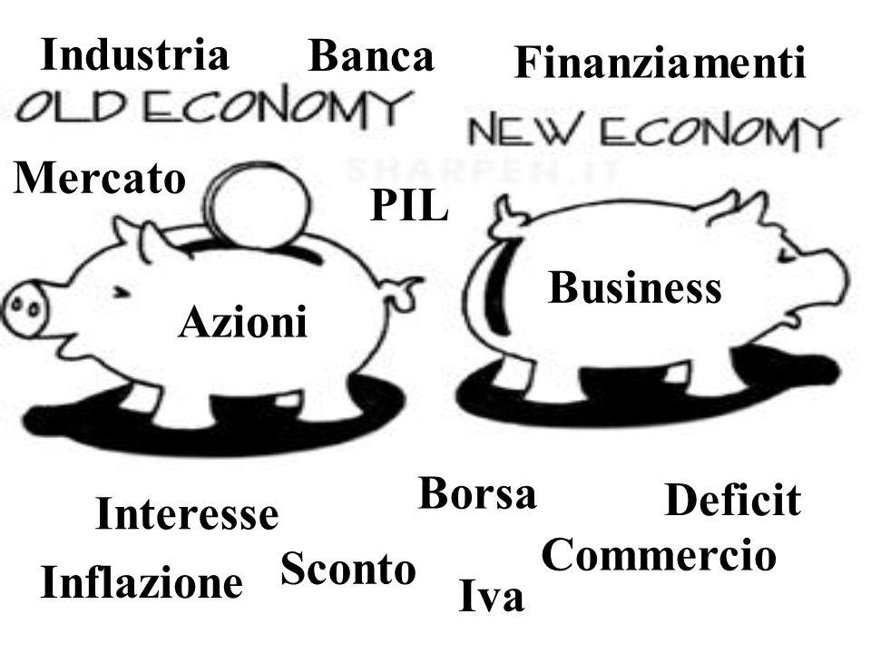 Industria Banca. Finanziamenti. Mercato. PIL. Business. Azioni. Borsa. Deficit. Interesse. Commercio.